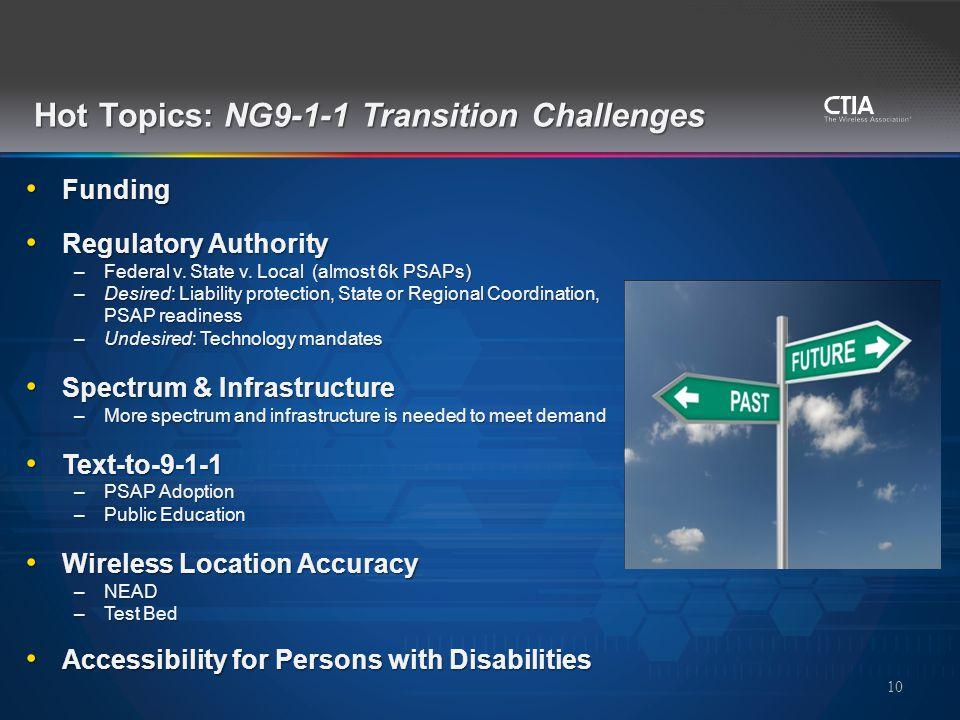 Hot Topics: NG9-1-1 Transition Challenges Funding Funding Regulatory Authority Regulatory Authority –Federal v.
