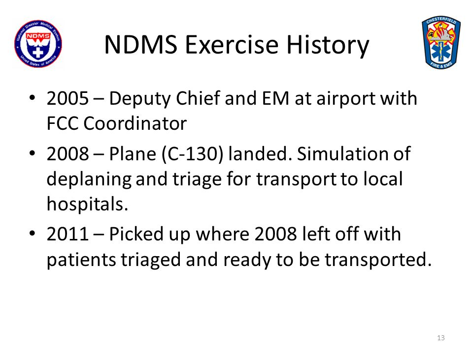 2005 FCC Director EM, EMS Director & Deputy Fire Chief 2008 C-130 Patient Triage 2011 Patient Transport OPS out of BC vehicle 2014 Patient Transport Full IMT support 14 NDMS Exercise History