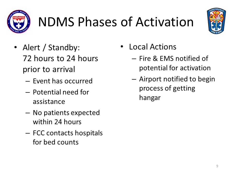 NDMS Phases of Activation Activation - 24 hours prior to arrival – Funds authorized – Patient Manifest sent to Emergency Management and shared with VCU Hospital (Medical Control) for patient hospital assignments Local Action – Fire & EMS notified of expected arrival time – Activate the County NDMS Plan and the ODEMSA Mass Casualty Plan 10