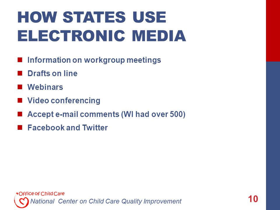 HOW STATES USE ELECTRONIC MEDIA Information on workgroup meetings Drafts on line Webinars Video conferencing Accept e-mail comments (WI had over 500) Facebook and Twitter 10