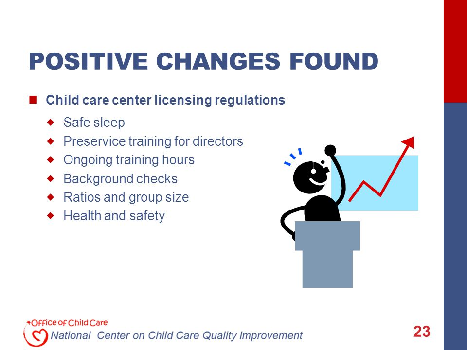 POSITIVE CHANGES FOUND Child care center licensing regulations  Safe sleep  Preservice training for directors  Ongoing training hours  Background checks  Ratios and group size  Health and safety 23
