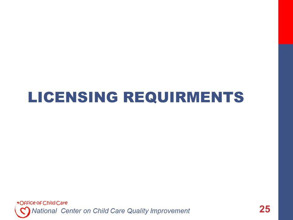 25 LICENSING REQUIRMENTS