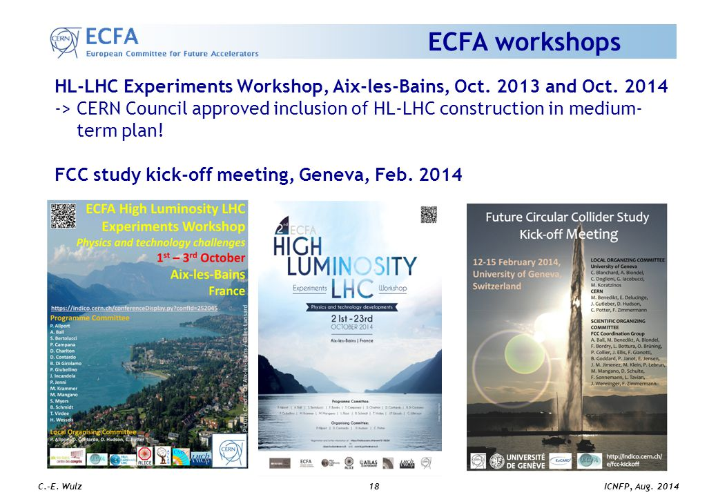 ICNFP, Aug. 2014 C.-E. Wulz18 ECFA workshops HL-LHC Experiments Workshop, Aix-les-Bains, Oct.