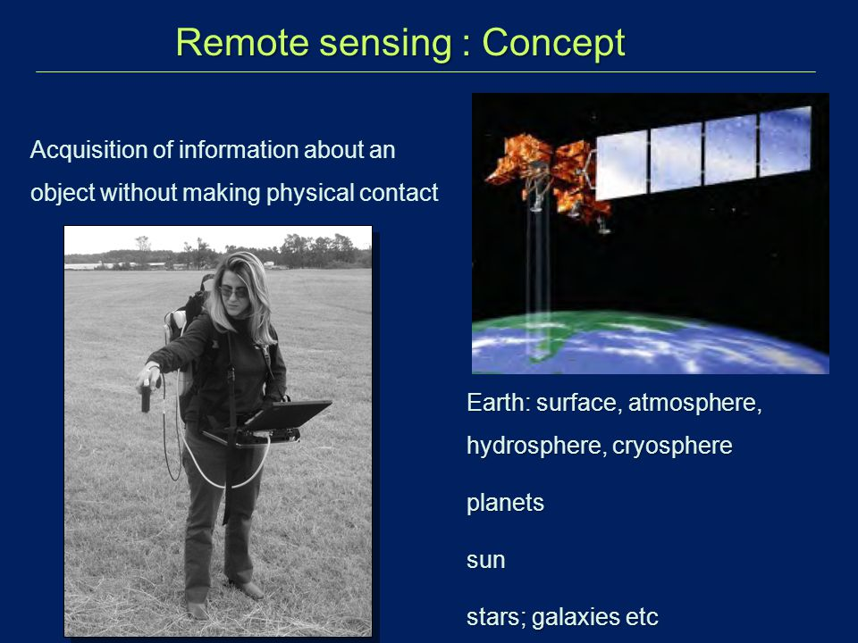Acquisition of information about an object without making physical contact Remote sensing : Concept Earth: surface, atmosphere, hydrosphere, cryospher