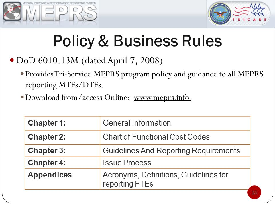 Policy & Business Rules DoD 6010.13M (dated April 7, 2008) Provides Tri-Service MEPRS program policy and guidance to all MEPRS reporting MTFs/DTFs. Do
