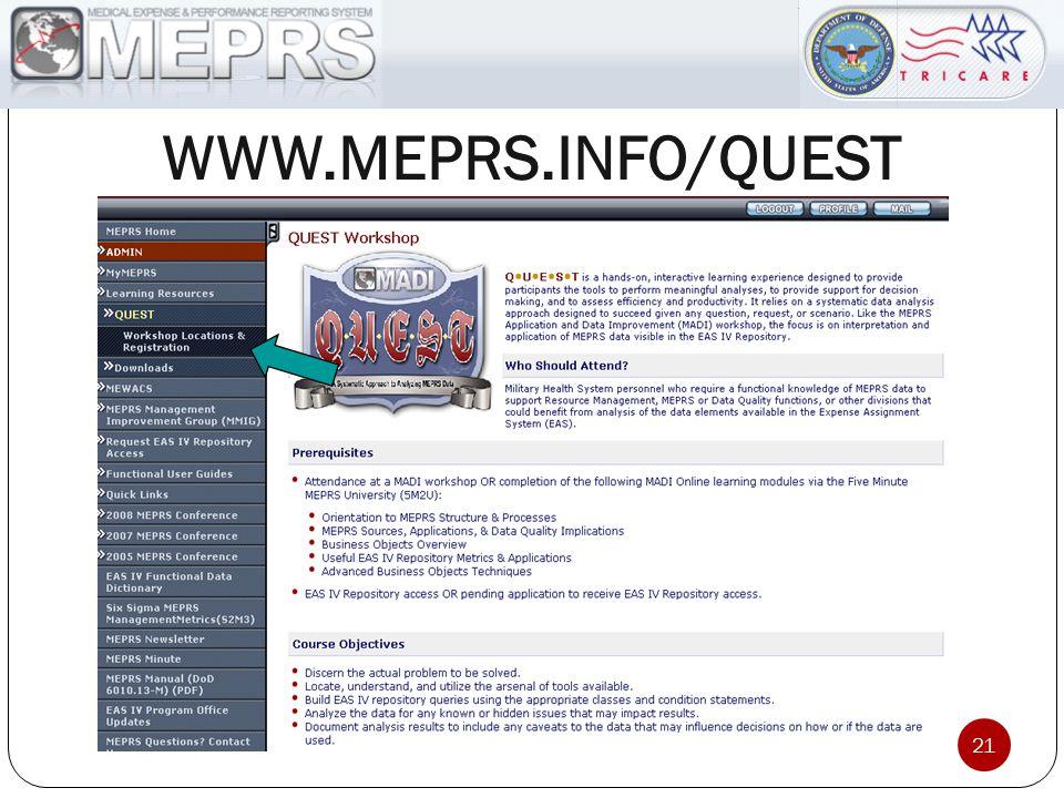 WWW.MEPRS.INFO/QUEST 21