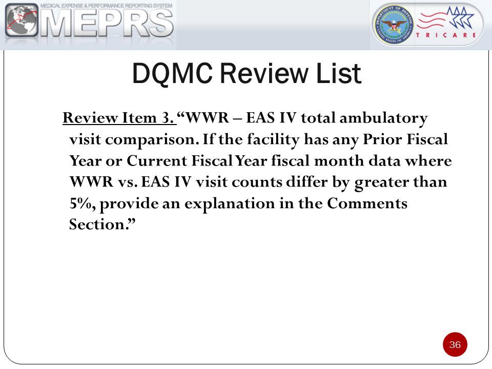 "DQMC Review List 36 Review Item 3. ""WWR – EAS IV total ambulatory visit comparison. If the facility has any Prior Fiscal Year or Current Fiscal Year f"