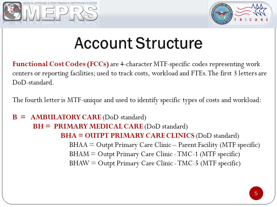 Account Structure Functional Cost Codes (FCCs) are 4-character MTF-specific codes representing work centers or reporting facilities; used to track cos
