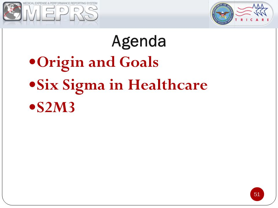 Agenda Origin and Goals Six Sigma in Healthcare S2M3 51