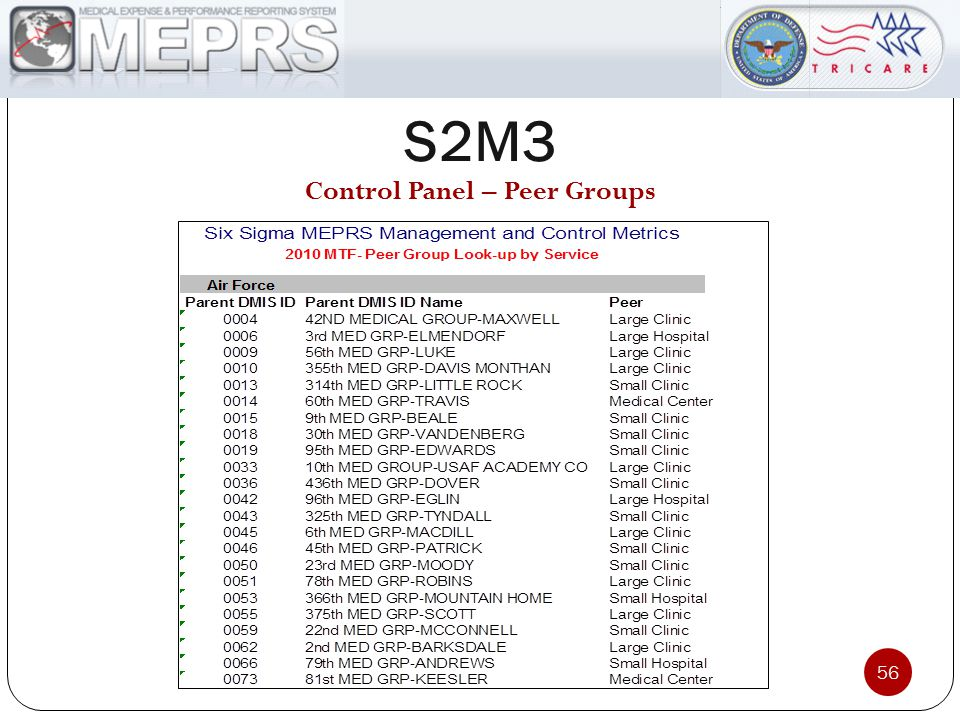 S2M3 56 Control Panel – Peer Groups