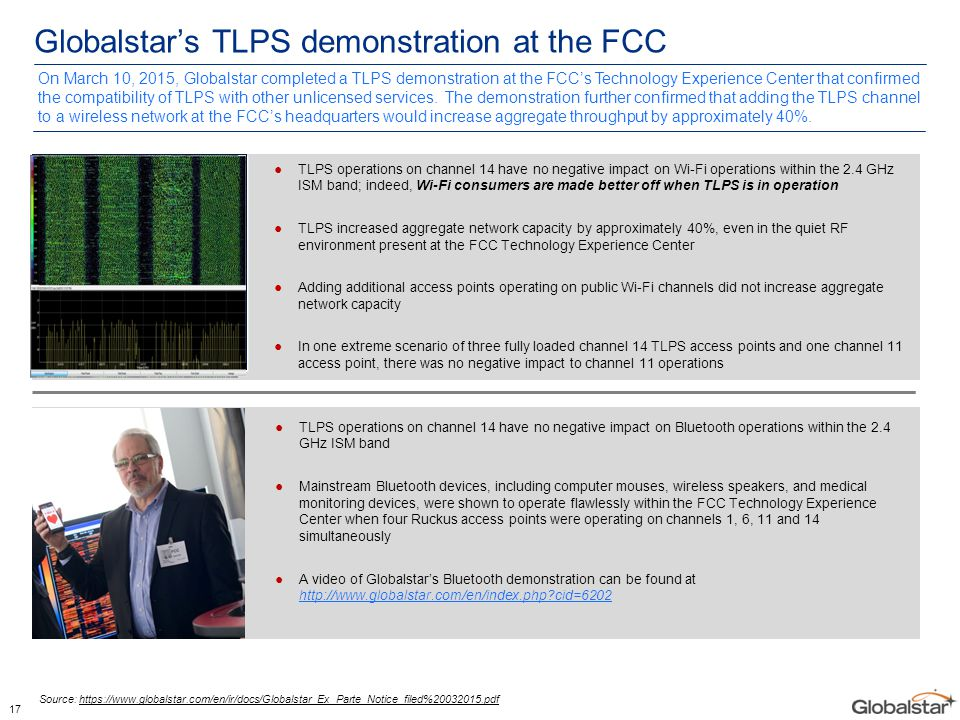 17 Globalstar's TLPS demonstration at the FCC ●TLPS operations on channel 14 have no negative impact on Wi-Fi operations within the 2.4 GHz ISM band;