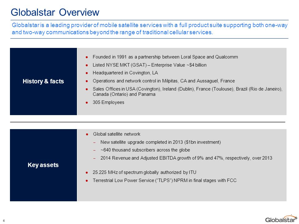4 Globalstar Overview ●Founded in 1991 as a partnership between Loral Space and Qualcomm ●Listed NYSE MKT (GSAT) – Enterprise Value ~$4 billion ●Headq
