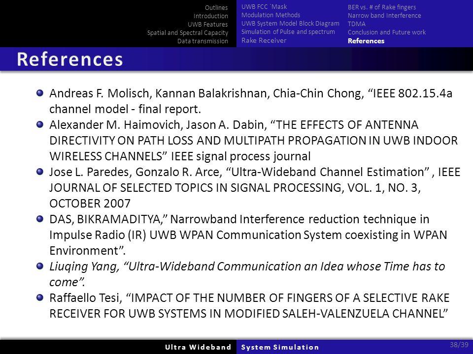 Ultra WidebandUltra WidebandSystem SimulationSystem Simulation 38/39 Andreas F.