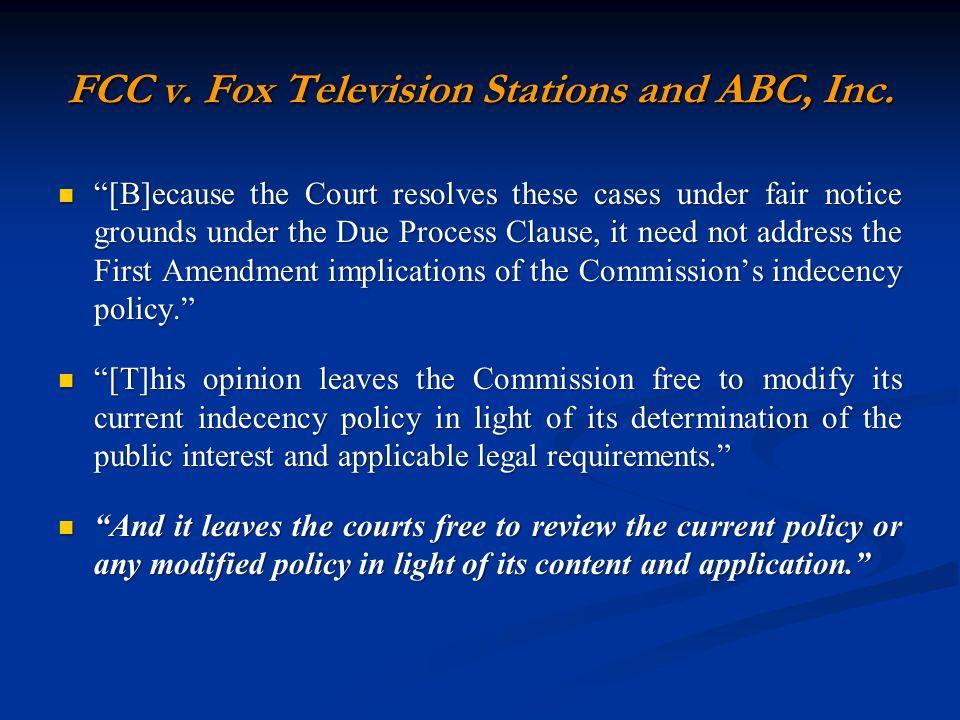 FCC v. Fox Television Stations and ABC, Inc.