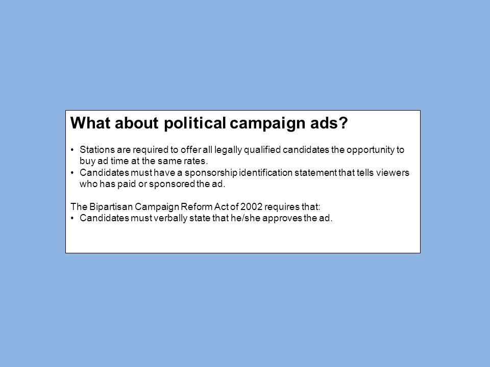 What about political campaign ads.