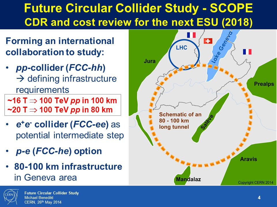 4 Future Circular Collider Study Michael Benedikt CERN, 26 th May 2014 Future Circular Collider Study - SCOPE CDR and cost review for the next ESU (2018) Forming an international collaboration to study: pp-collider (FCC-hh)  defining infrastructure requirements e + e - collider (FCC-ee) as potential intermediate step p-e (FCC-he) option 80-100 km infrastructure in Geneva area ~16 T  100 TeV pp in 100 km ~20 T  100 TeV pp in 80 km