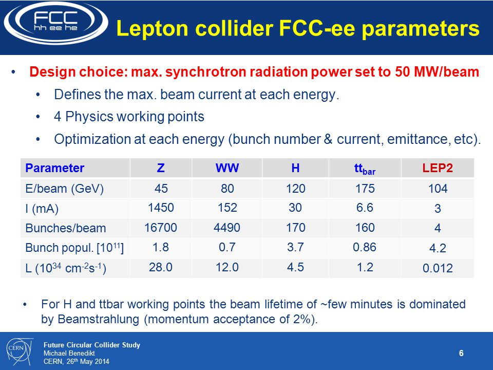6 Future Circular Collider Study Michael Benedikt CERN, 26 th May 2014 Lepton collider FCC-ee parameters Design choice: max.