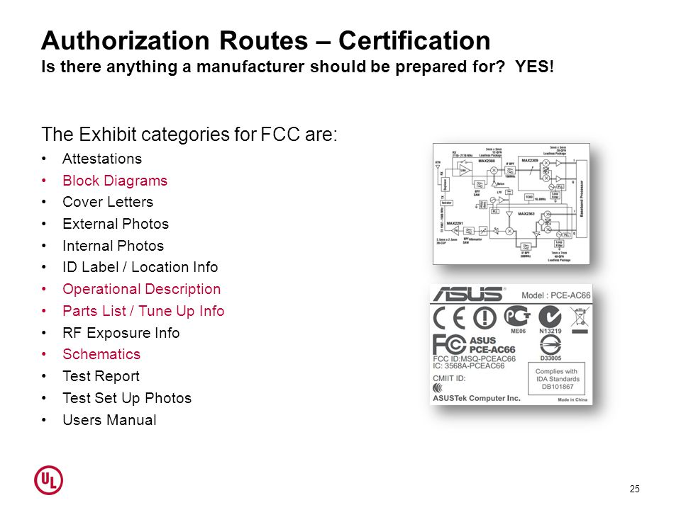 Authorization Routes – Certification Is there anything a manufacturer should be prepared for? YES! The Exhibit categories for FCC are: Attestations Bl