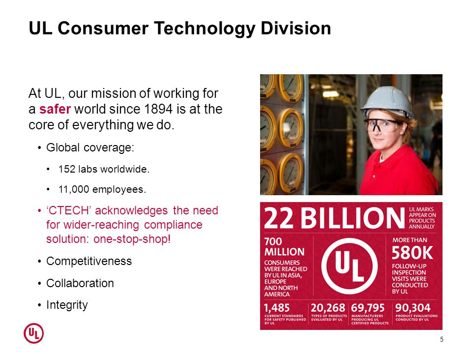 UL Consumer Technology Division At UL, our mission of working for a safer world since 1894 is at the core of everything we do. Global coverage: 152 la