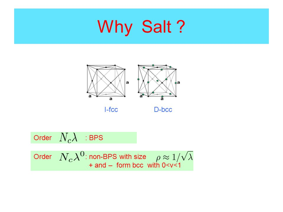 Why Salt Order : BPS Order : non-BPS with size + and – form bcc with 0<v<1 I-fccD-bcc