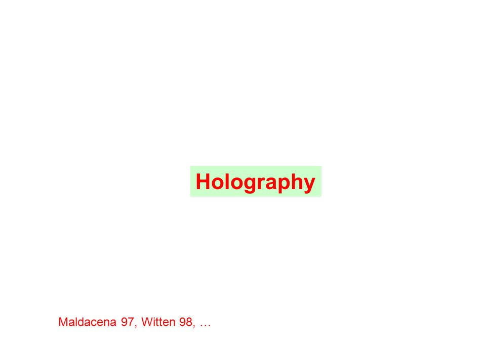 Holography Maldacena 97, Witten 98, …