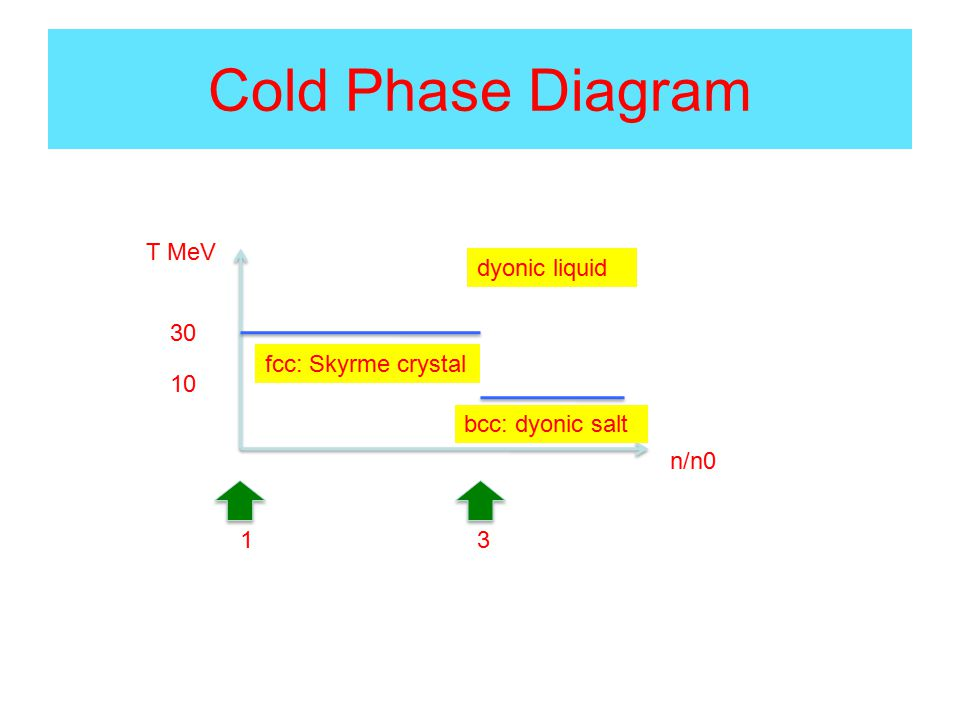 Cold Phase Diagram T MeV n/n0 fcc: Skyrme crystal bcc: dyonic salt 31 30 10 dyonic liquid