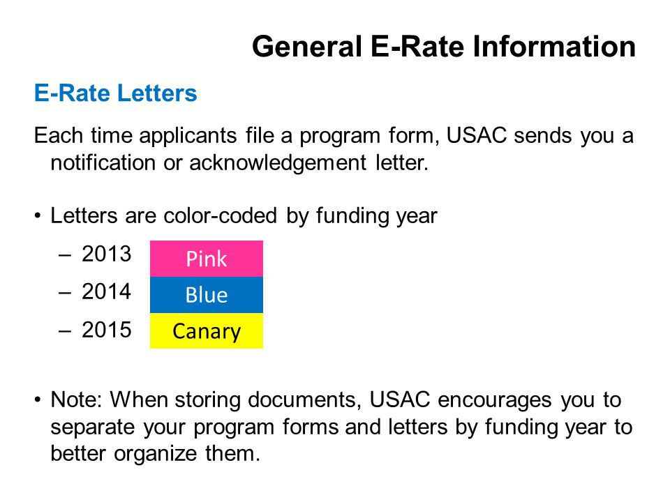 E-Rate Letters General E-Rate Information Each time applicants file a program form, USAC sends you a notification or acknowledgement letter.