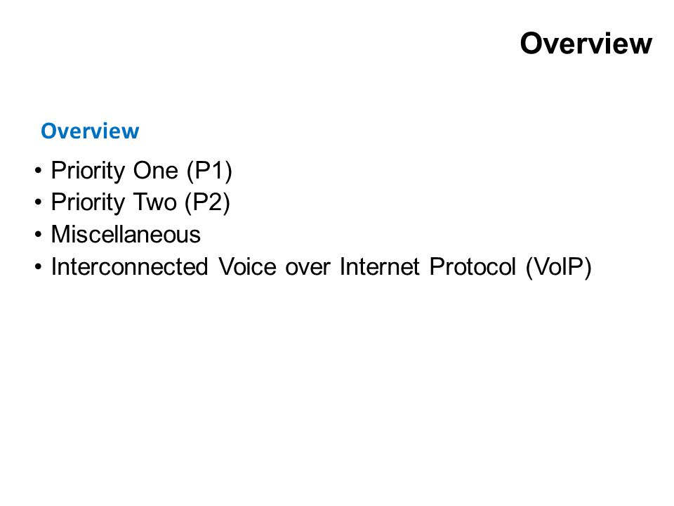 Overview Priority One (P1) Priority Two (P2) Miscellaneous Interconnected Voice over Internet Protocol (VoIP) Overview