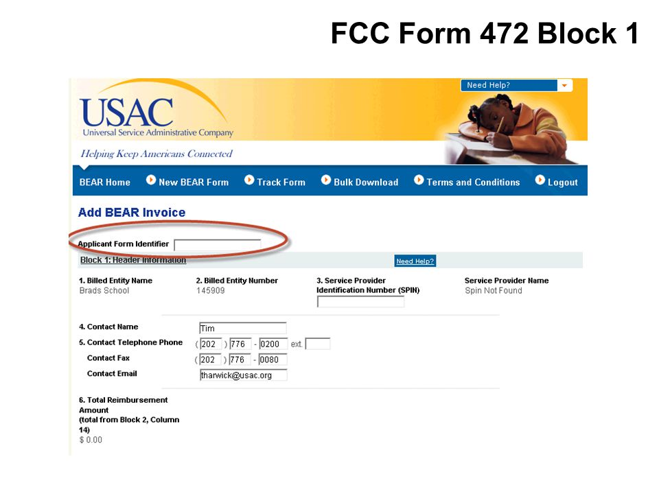 FCC Form 472 Block 1