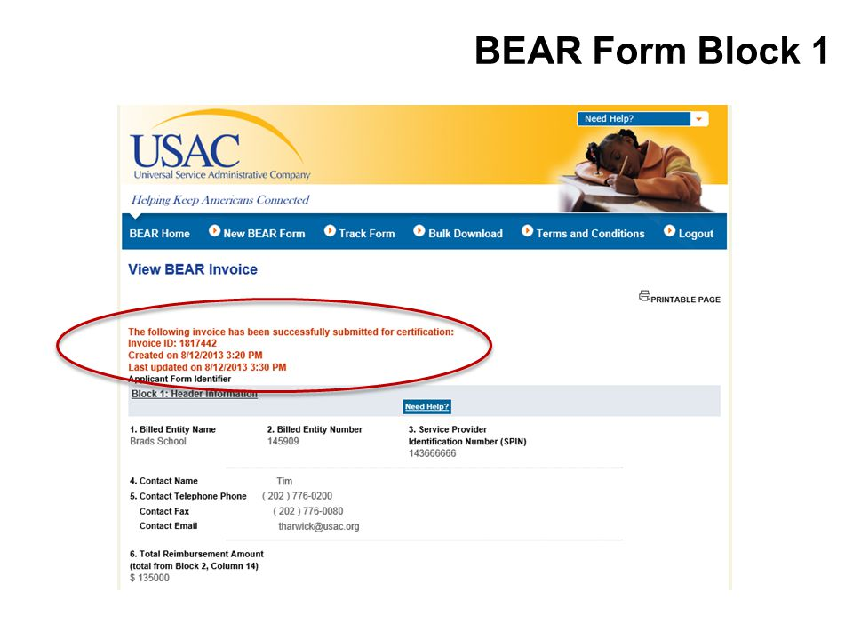 BEAR Form Block 1