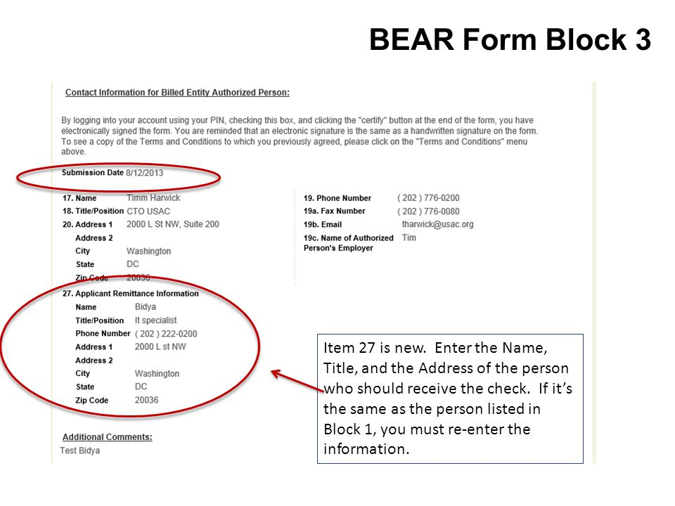 BEAR Form Block 3 Item 27 is new.