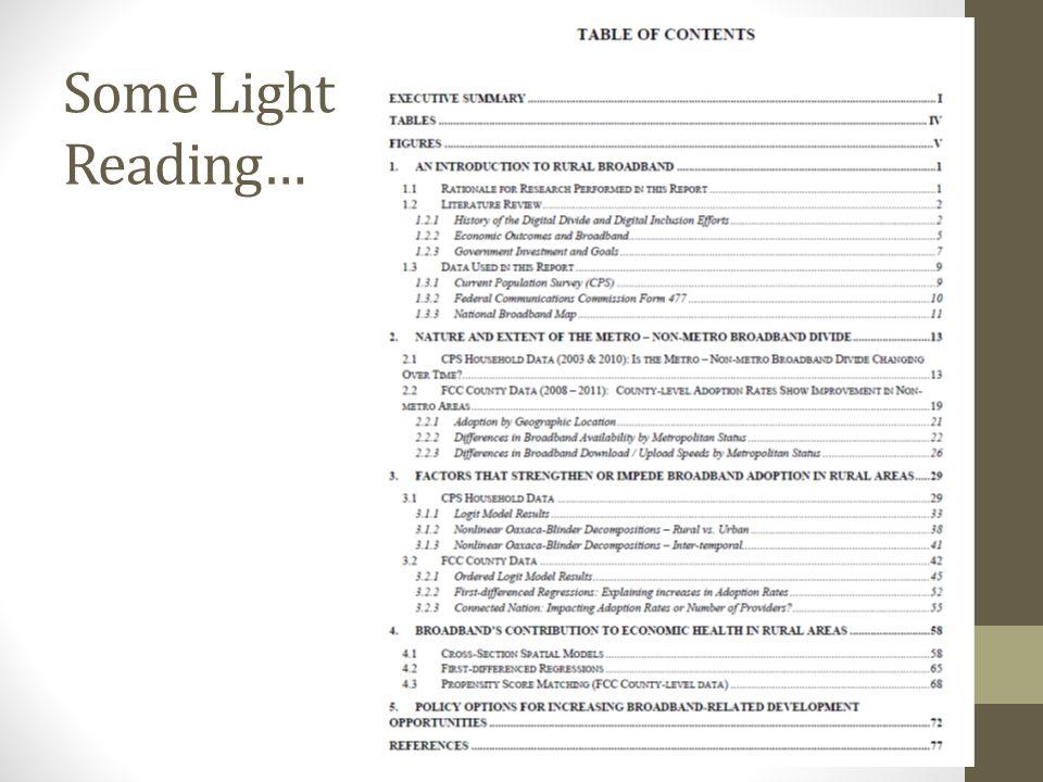 Some Light Reading…