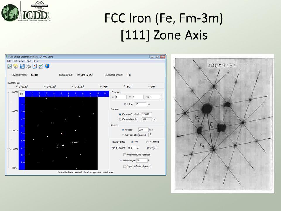 FCC Iron (Fe, Fm-3m) [111] Zone Axis