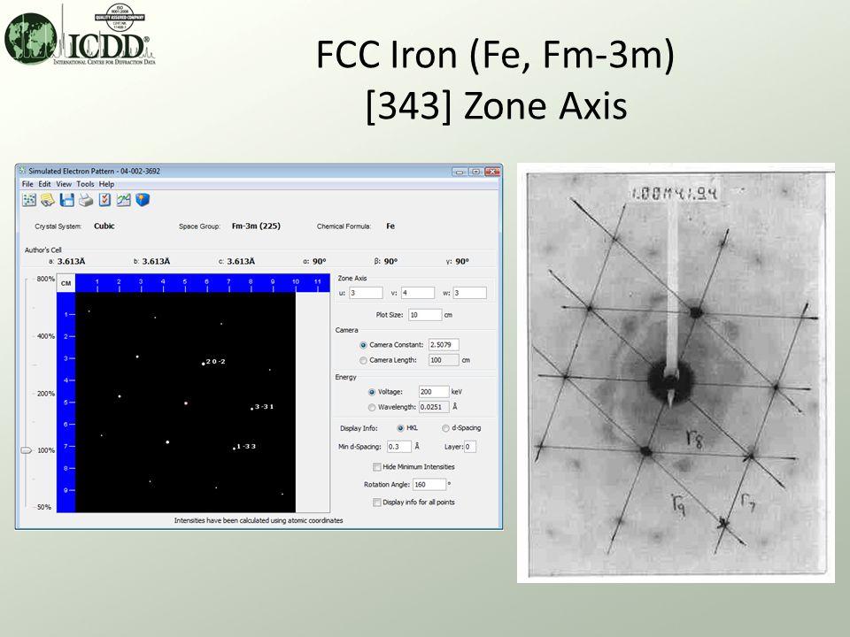 FCC Iron (Fe, Fm-3m) [343] Zone Axis