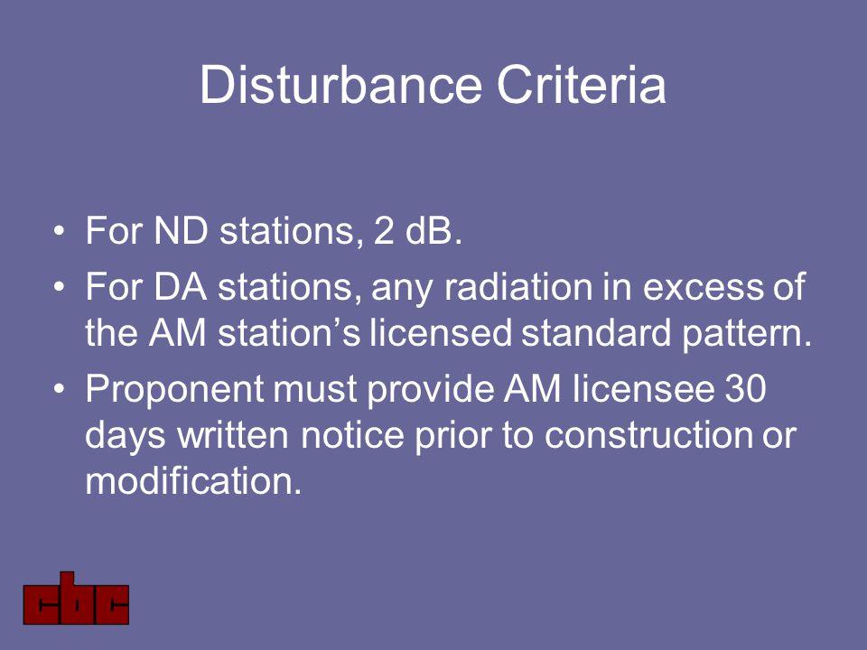 Disturbance Criteria For ND stations, 2 dB.