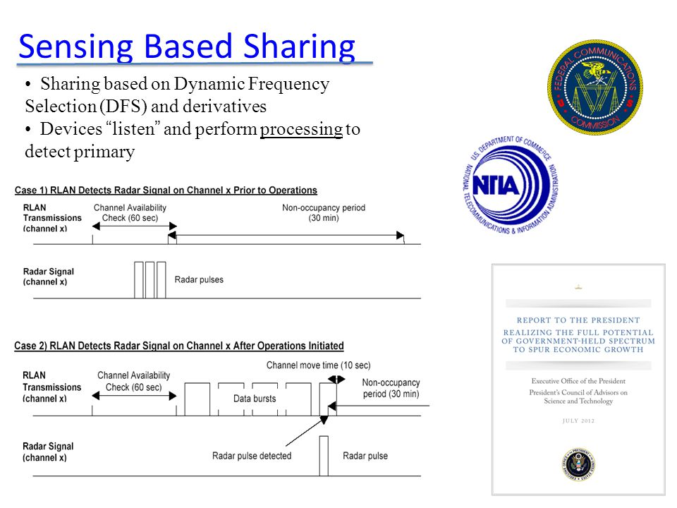 Sensing Based Sharing Sharing based on Dynamic Frequency Selection (DFS) and derivatives Devices listen and perform processing to detect primary