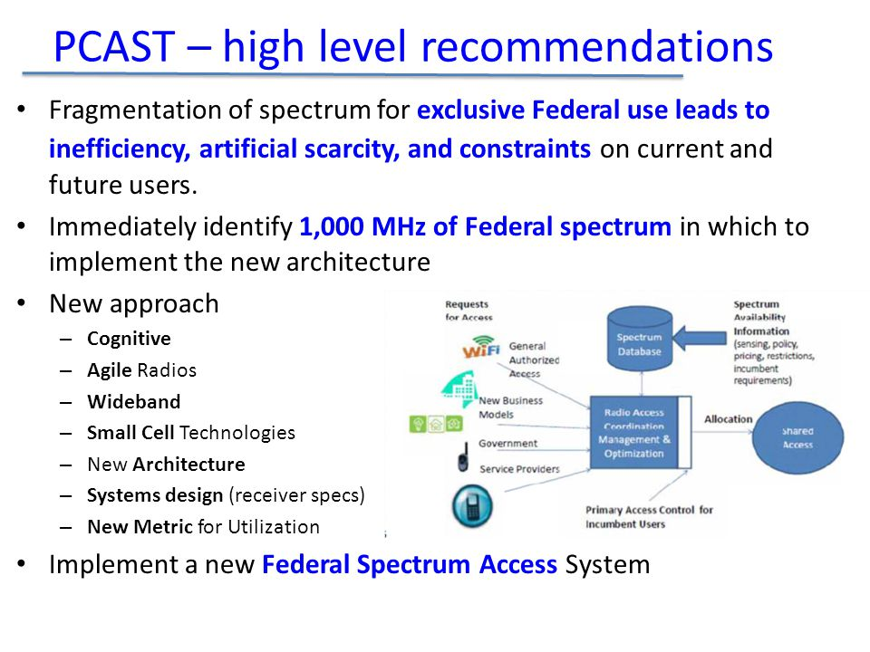 Fragmentation of spectrum for exclusive Federal use leads to inefficiency, artificial scarcity, and constraints on current and future users.
