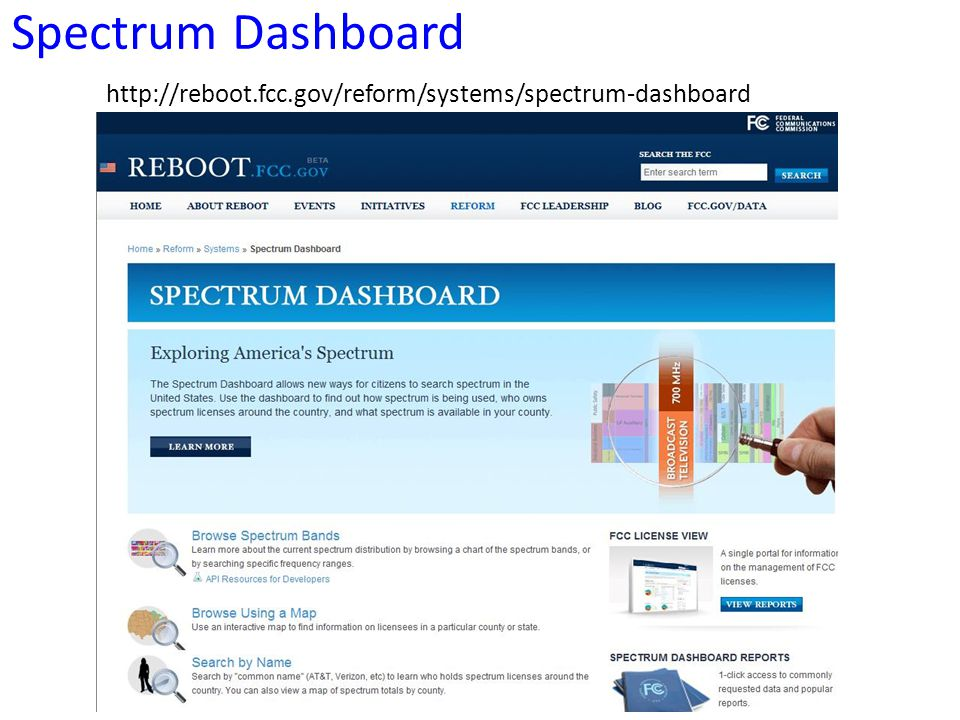 Spectrum Dashboard http://reboot.fcc.gov/reform/systems/spectrum-dashboard