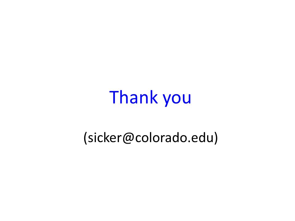 Thank you (sicker@colorado.edu)