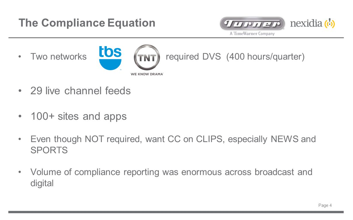 The Compliance Equation Two networks required DVS (400 hours/quarter) 29 live channel feeds 100+ sites and apps Even though NOT required, want CC on C