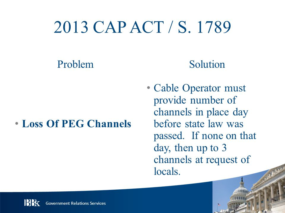 Government Relations Services 2013 CAP ACT / S.