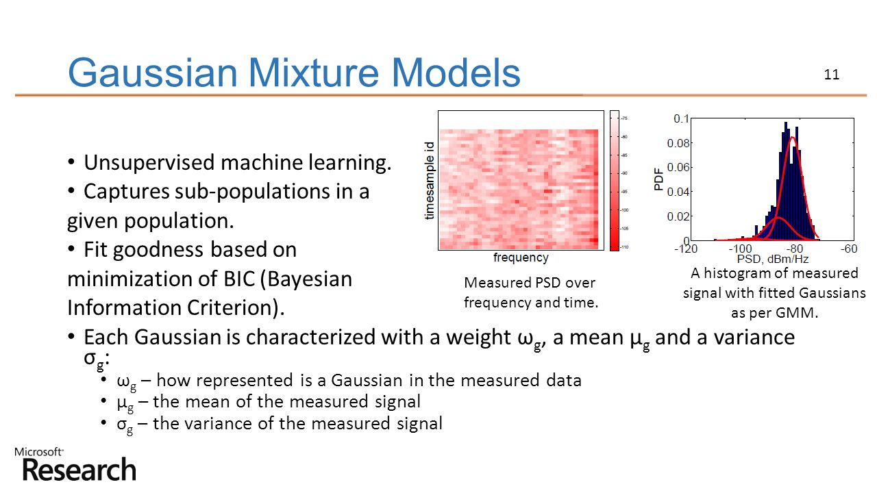 11 Gaussian Mixture Models Unsupervised machine learning. Captures sub-populations in a given population. Fit goodness based on minimization of BIC (B