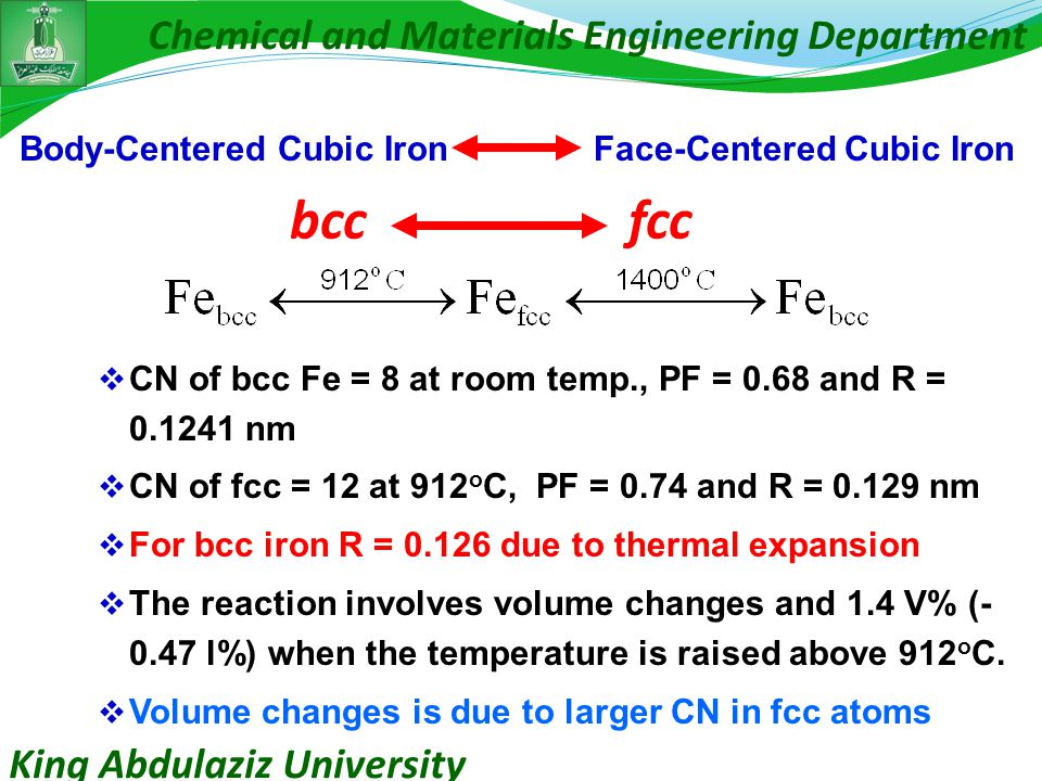King Abdulaziz University Chemical and Materials Engineering Department bcc fcc  CN of bcc Fe = 8 at room temp., PF = 0.68 and R = 0.1241 nm  CN of