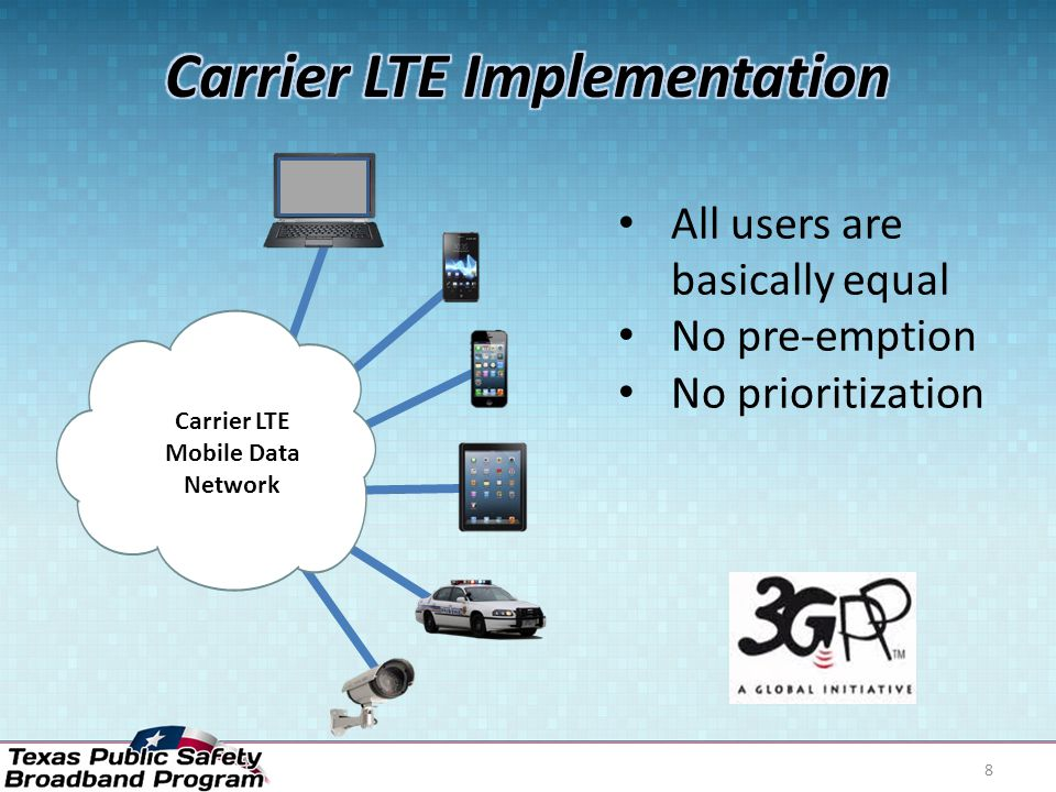 8 Carrier LTE Mobile Data Network All users are basically equal No pre-emption No prioritization