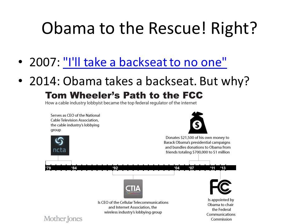Obama to the Rescue. Right.