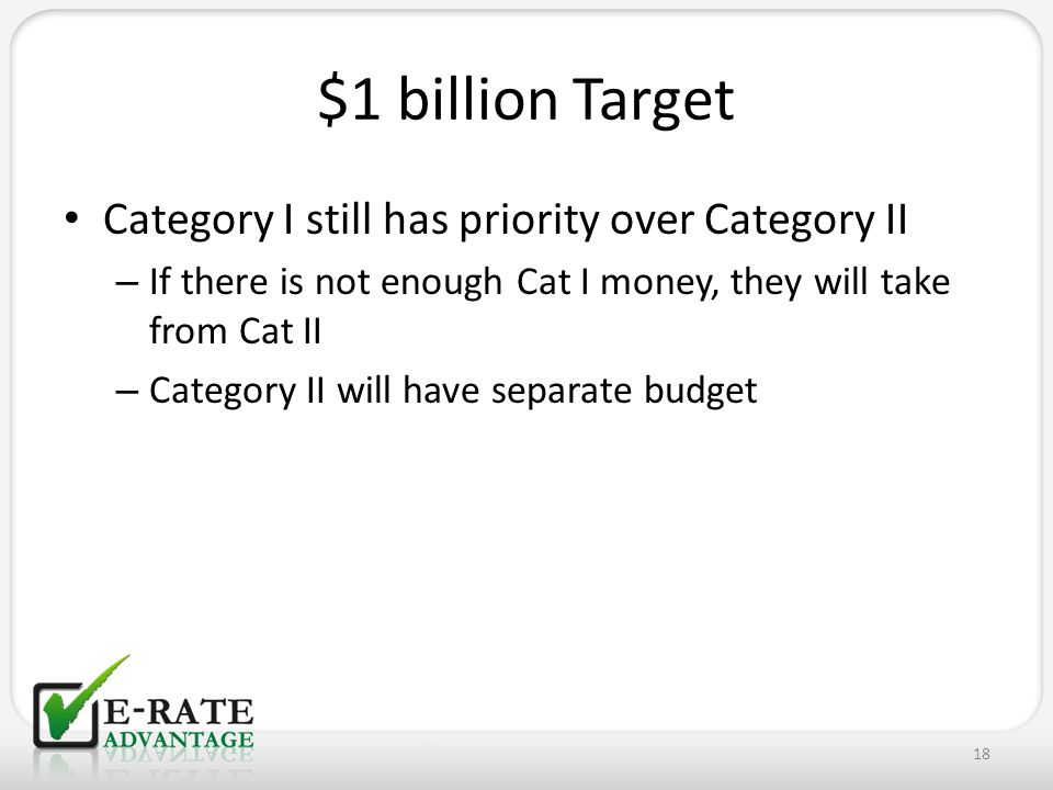 $1 billion Target Category I still has priority over Category II – If there is not enough Cat I money, they will take from Cat II – Category II will h