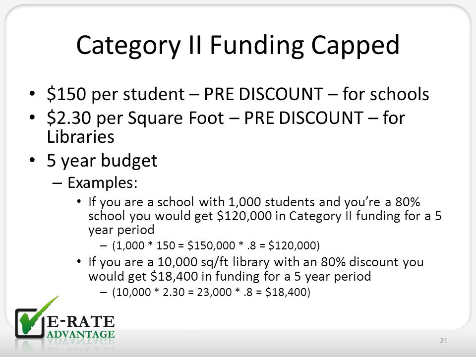 Category II Funding Capped $150 per student – PRE DISCOUNT – for schools $2.30 per Square Foot – PRE DISCOUNT – for Libraries 5 year budget – Examples