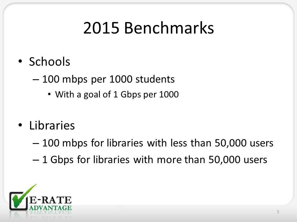 2015 Benchmarks Schools – 100 mbps per 1000 students With a goal of 1 Gbps per 1000 Libraries – 100 mbps for libraries with less than 50,000 users – 1
