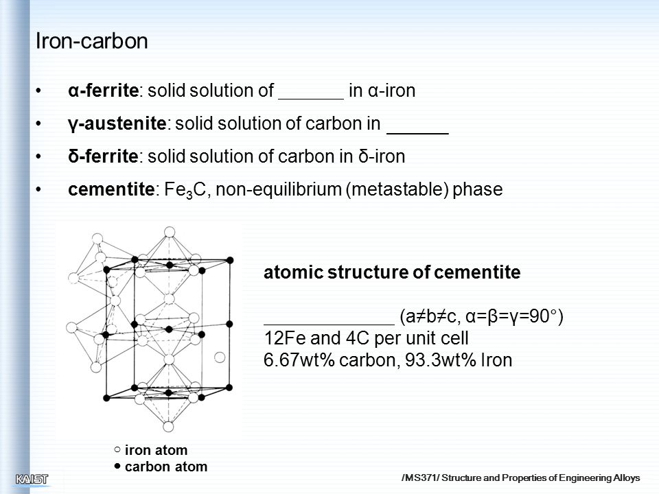 /MS371/ Structure and Properties of Engineering Alloys α-ferrite: solid solution of in α-iron γ-austenite: solid solution of carbon in δ-ferrite: solid solution of carbon in δ-iron cementite: Fe 3 C, non-equilibrium (metastable) phase ○ iron atom ● carbon atom atomic structure of cementite (a≠b≠c, α=β=γ=90°) 12Fe and 4C per unit cell 6.67wt% carbon, 93.3wt% Iron Iron-carbon