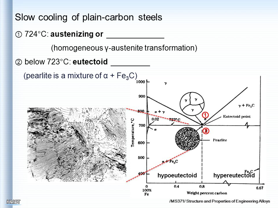 /MS371/ Structure and Properties of Engineering Alloys hypoeutectoidhypereutectoid ① ② ① 724°C: austenizing or (homogeneous γ-austenite transformation) ② below 723°C: eutectoid (pearlite is a mixture of α + Fe 3 C) Slow cooling of plain-carbon steels